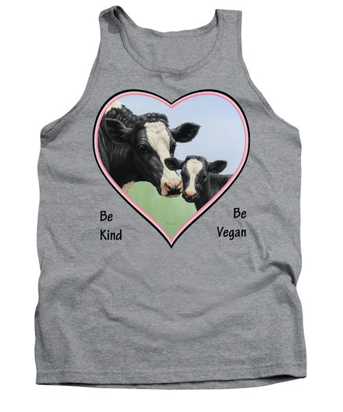 Holstein Cow And Calf Pink Heart Vegan Tank Top