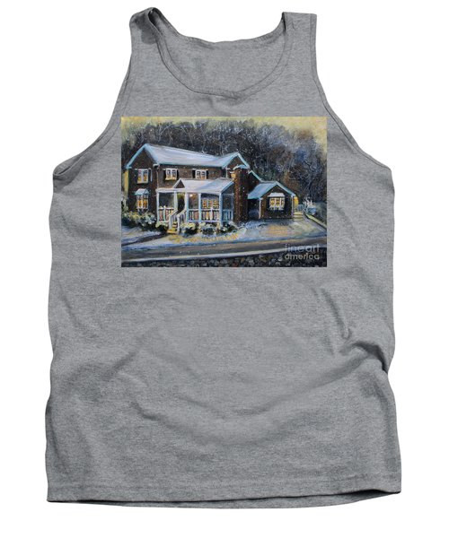 Home On A Snowy Eve Tank Top by Rita Brown