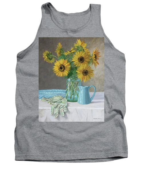 Homegrown - Sunflowers In A Mason Jar With Gardening Gloves And Blue Cream Pitcher Tank Top