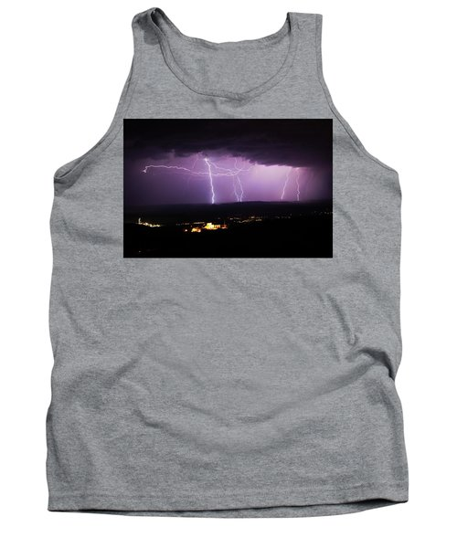 Tank Top featuring the photograph Horizontal And Vertical Lightning by Ron Chilston