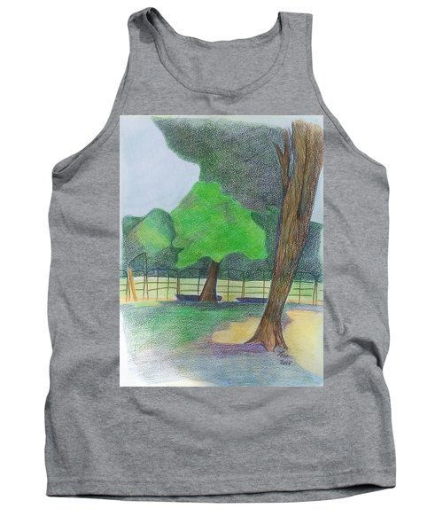 Tank Top featuring the drawing Horse Field by Loretta Nash