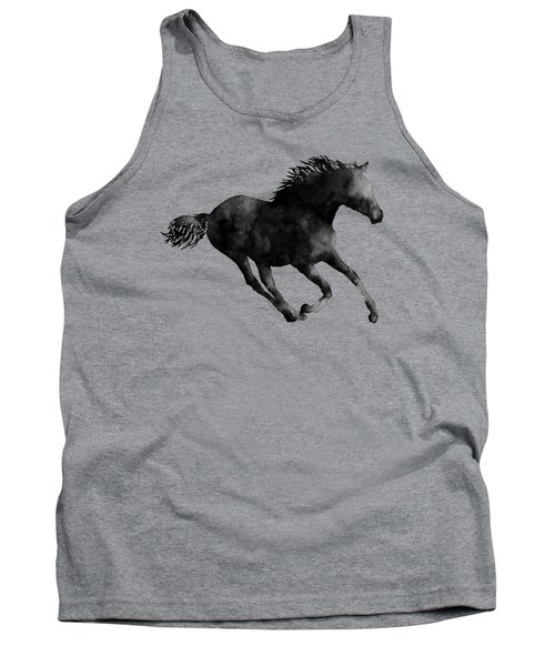 Horse Running In Black And White Tank Top