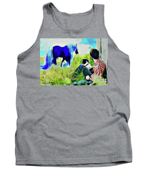 Tank Top featuring the painting Horse Whisperer by Ted Azriel
