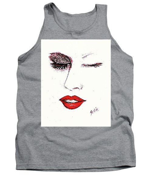 Tank Top featuring the pastel Hot Lips by Desline Vitto