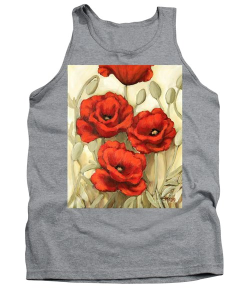 Hot Red Poppies Tank Top by Inese Poga