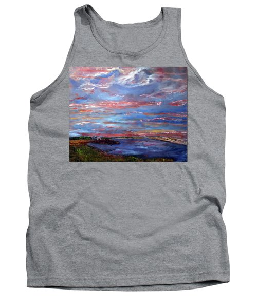 House On The Point Sunset Tank Top by Michael Helfen