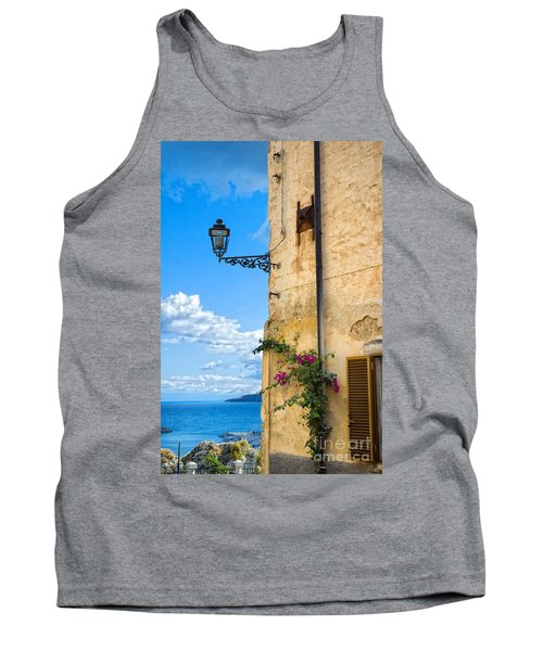 House With Bougainvillea Street Lamp And Distant Sea Tank Top