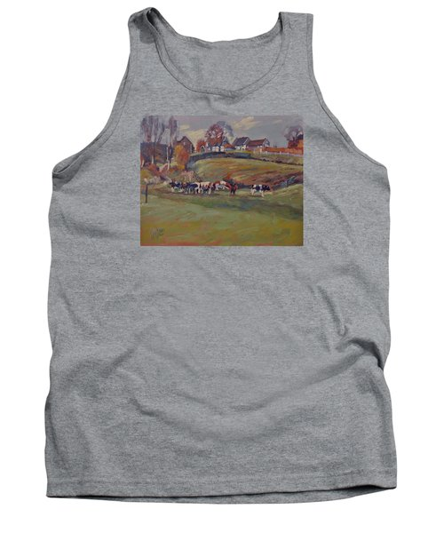 Tank Top featuring the painting Houses And Cows In Schweiberg by Nop Briex