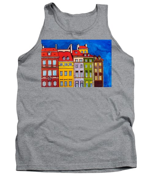 Tank Top featuring the painting Houses In The Oldtown Of Warsaw by Dora Hathazi Mendes