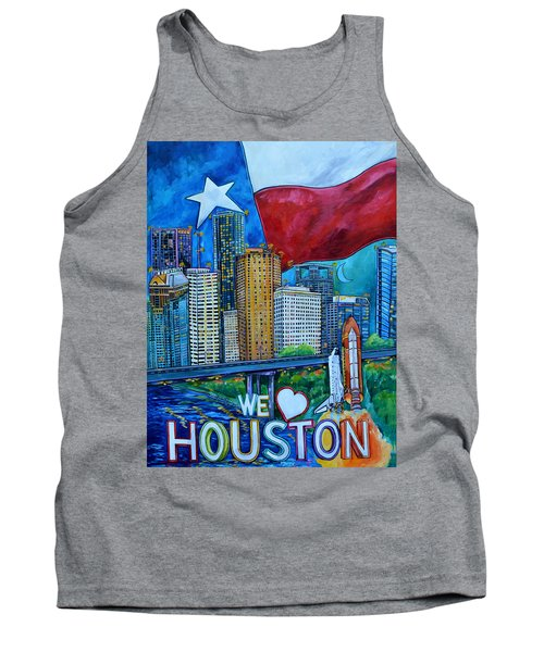 Tank Top featuring the painting Houston Montage by Patti Schermerhorn