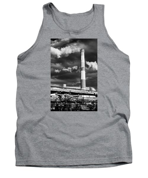 Huge Industrial Chimney And Smoke In Black And White Tank Top by John Williams