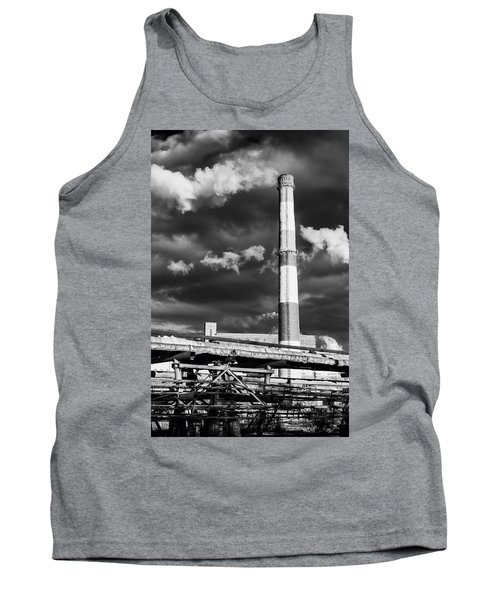 Huge Industrial Chimney And Smoke In Black And White Tank Top