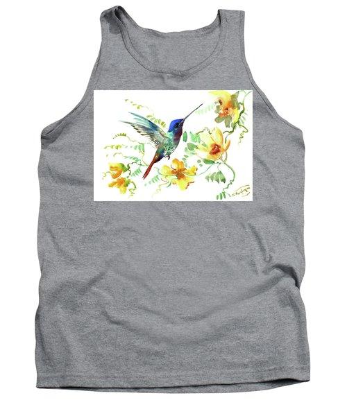 Hummibgbird And Yellow Flowers Tank Top