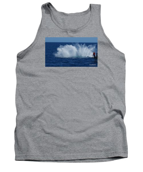 Humpback Whale Breaching Close To Boat 23 Image 3 Of 4 Tank Top by Gary Crockett