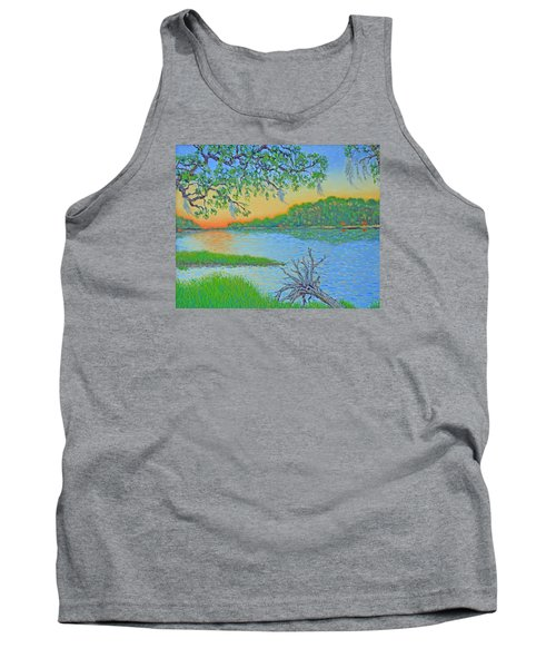 Tank Top featuring the painting Hunting Island Lagoon 2 by Dwain Ray