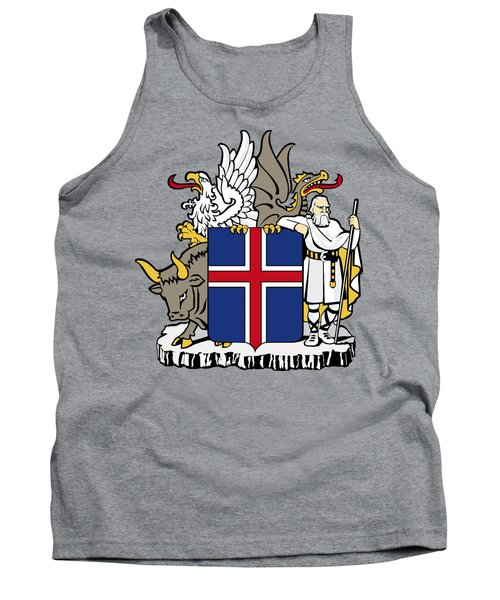 Tank Top featuring the drawing Iceland Coat Of Arms by Movie Poster Prints