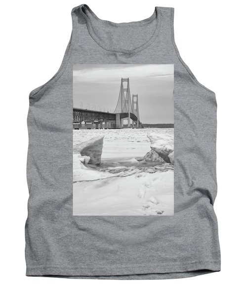 Tank Top featuring the photograph Icy Black And White Mackinac Bridge  by John McGraw