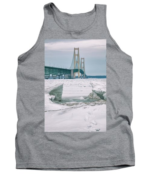 Tank Top featuring the photograph Icy Day Mackinac Bridge  by John McGraw