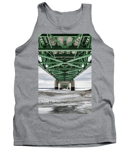 Tank Top featuring the photograph Icy Mackinac Bridge In Winter by John McGraw
