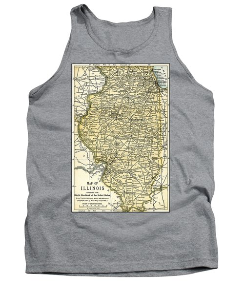 Illinois Antique Map 1891 Tank Top
