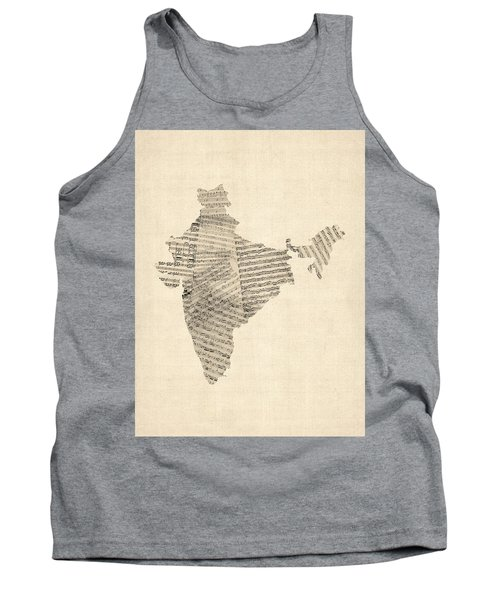 India Map, Old Sheet Music Map Of India Tank Top by Michael Tompsett