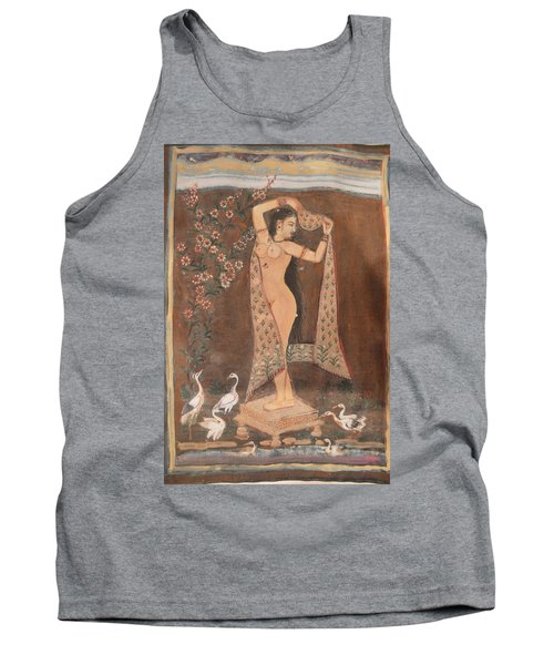 Tank Top featuring the painting Indian Lady After Swim by Vikram Singh