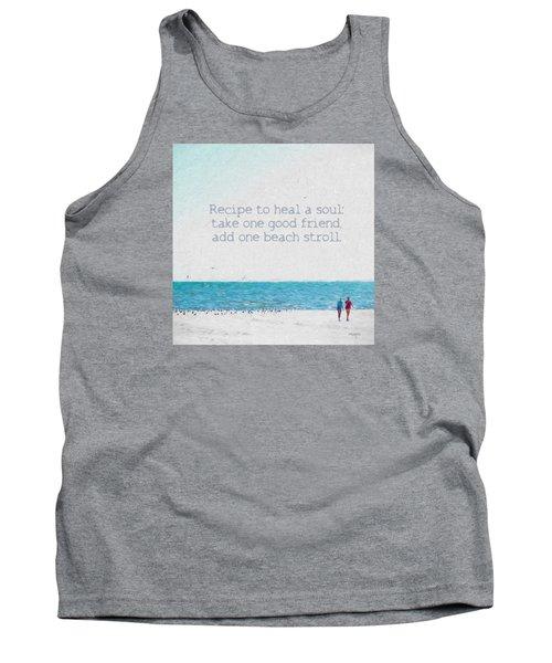 Inspirational Beach Quote Seashore Coastal Women Girlfriends Tank Top by Rebecca Korpita