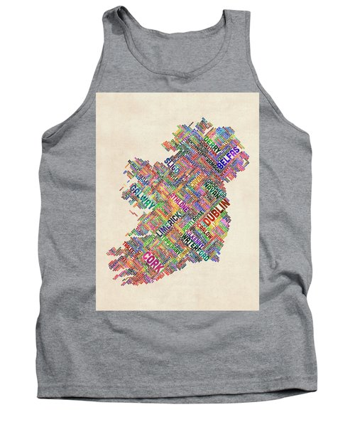 Ireland Eire City Text Map Derry Version Tank Top