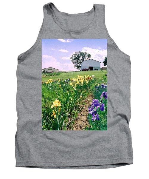 Tank Top featuring the photograph Iris Farm by Steve Karol