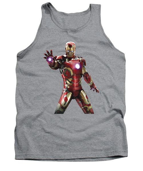 Tank Top featuring the mixed media Iron Man Splash Super Hero Series by Movie Poster Prints