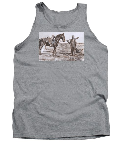 Irrigating The Hay Meadows Historical Vignette Tank Top by Dawn Senior-Trask