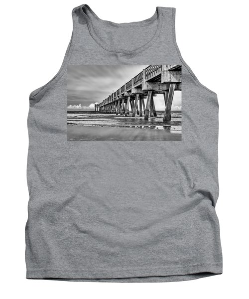 Jacksonville Beach Pier In Black And White Tank Top