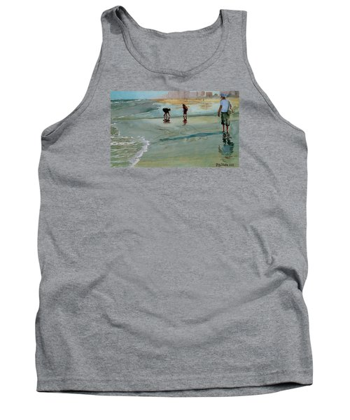 Tank Top featuring the painting Jacksonville Shell Hunt by Jeffrey S Perrine