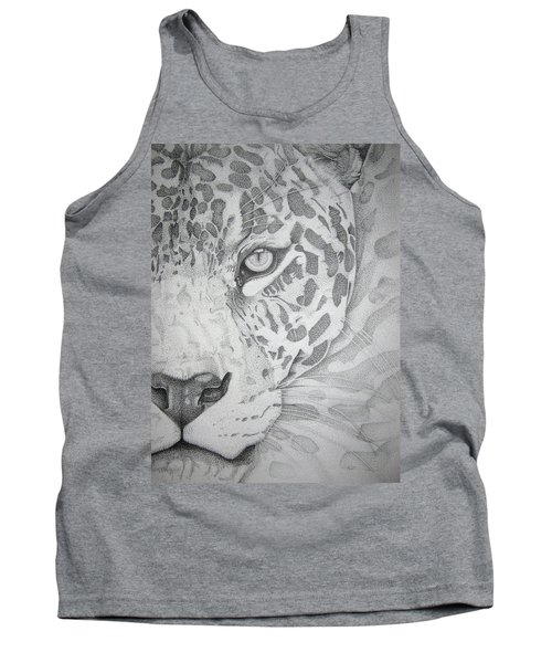 Tank Top featuring the drawing Jaguar Pointillism by Mayhem Mediums
