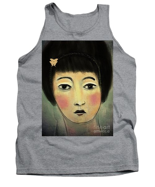 Tank Top featuring the digital art Japanese Woman With Butterflies by Alexis Rotella