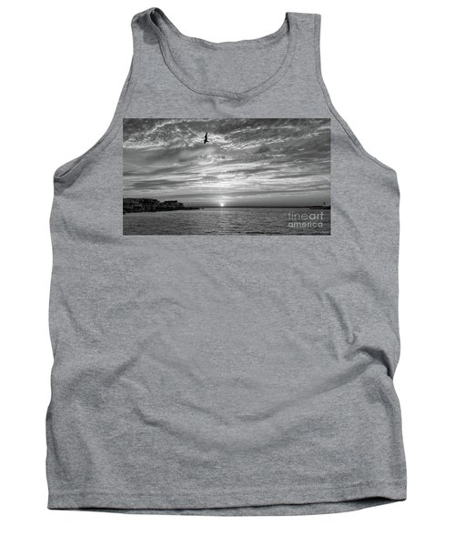 Jersey Shore Sunset In Black And White Tank Top