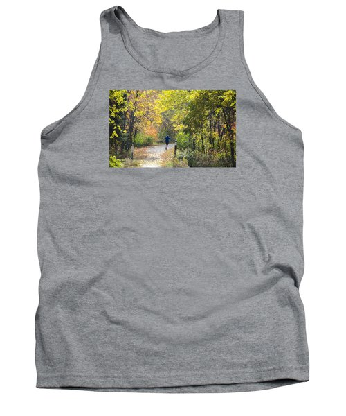 Jogger On Nature Trail In Autumn Tank Top
