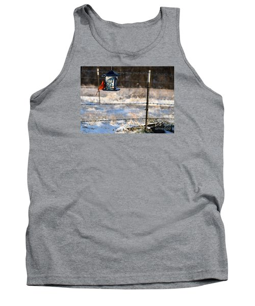 Tank Top featuring the photograph Kansas Cardinal At The Feeder by Mark McReynolds