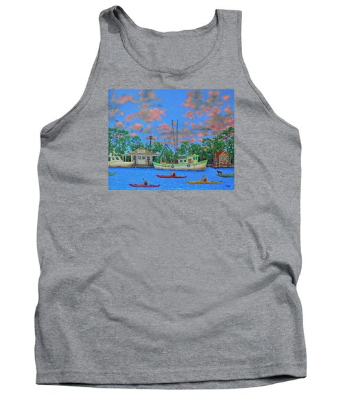 Tank Top featuring the painting kayaks on the Creek by Dwain Ray