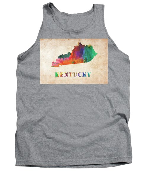 Kentucky Colorful Watercolor Map Tank Top