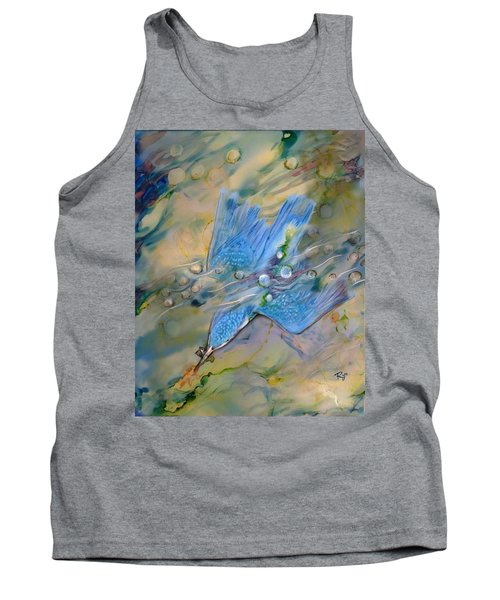 Tank Top featuring the painting Kingfisher Dive by Ryn Shell