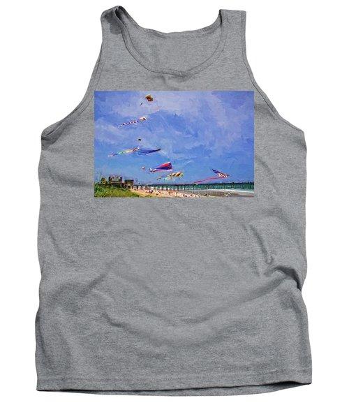 Kites At The Flagler Beach Pier Tank Top