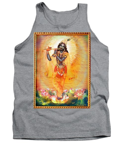 Krishna With The Flute Tank Top by Ananda Vdovic