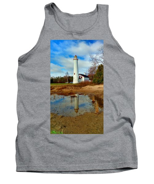 Lake Huron Lighthouse Tank Top by Michael Rucker