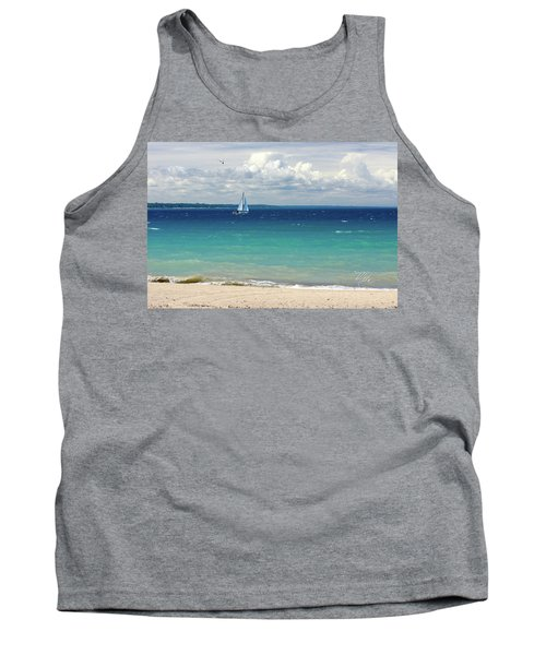 Tank Top featuring the photograph Lake Huron Sailboat by Meta Gatschenberger