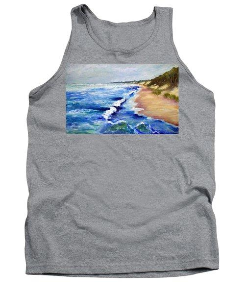 Lake Michigan Beach With Whitecaps Tank Top