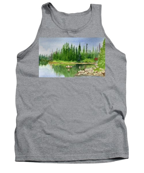 Tank Top featuring the painting Lake View 1-2 by Yoshiko Mishina
