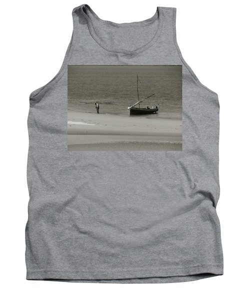 Lamu Island - Wooden Fishing Dhow Getting Unloaded - Black And White Tank Top