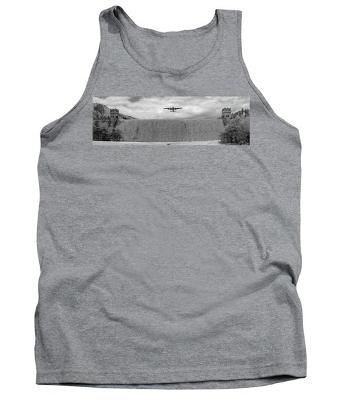 Tank Top featuring the photograph Lancaster Over The Derwent Dam Bw Version by Gary Eason