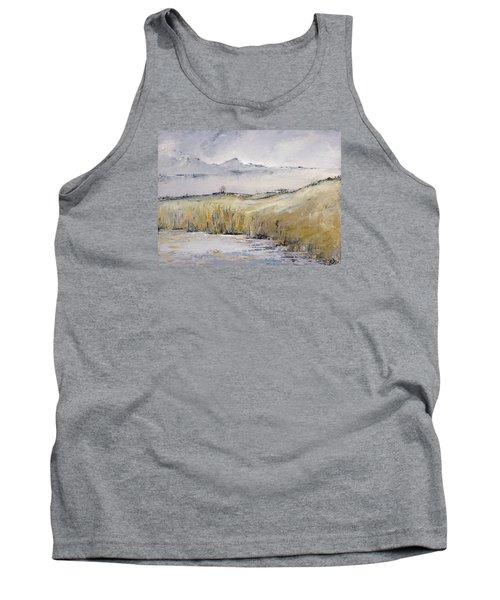 Landscape In Gray Tank Top by Carolyn Doe
